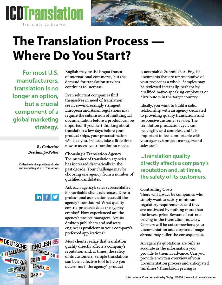 The Translation Process—Where Do You Start? Resource