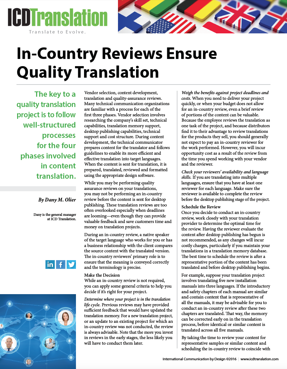 In-Country Reviews Ensure Quality Translation Resource