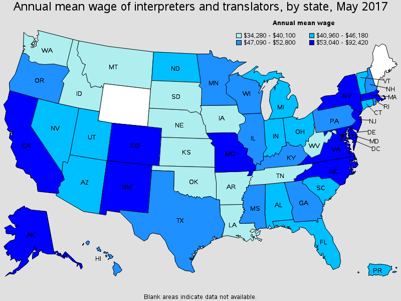 Annual wage for translators and interpreters by state for 2017